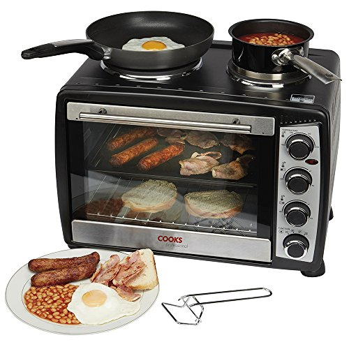Ko�lle Large 35 Litre Capacity Black Countertop Mini Oven And Grill With Double Hot Plates Includes Wire Rack, Baking Tray 1500w 2 Year Warranty