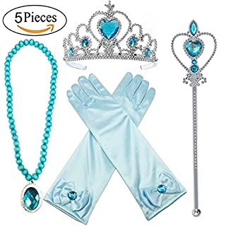 Princess Elsa Dress up Party Accessories 4 Piece Set Gloves, Tiara, Wand and Necklace