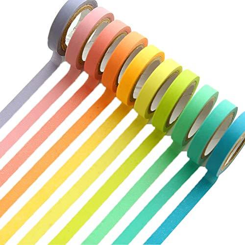 UClever 10 decorativo mascheratura Washi - Adesivo colorato arcobaleno Nastri Fai Da Te Nastri Etichette