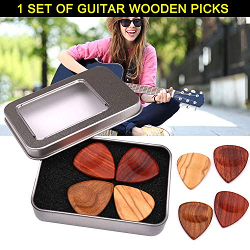 Alextry 1 Set Wooden Plectrums Picks with Storage Case Accessories for Guitar Bass Banjo