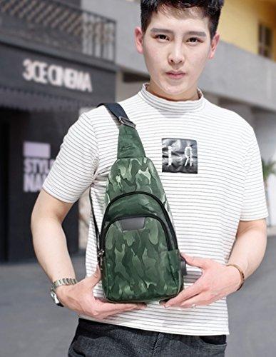 YOUJIA Tarnung Leichte Wandern Reise Daypack Brusttasche Crossbody mit USB-Batterieladung-Anschluss Sling Rucksack für Männer Damen (#2 Blau) #1 Grün