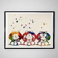 """Lámina para enmarcar """"Mafalda"""". Nacnic. Laminas decorativas para pared. Laminas estilo acuarela. Regalo creativo para tu amiga. Papel 250 gramos alta calidad"""