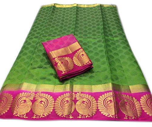 Nirja Creation Cotton Silk Saree (NC-OD-MOR-02_Green_Free Size)