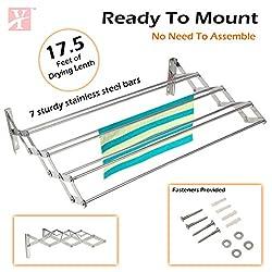 YT Wall Mounting Foldable Cloth Drying Rack cum Hanger 2.5 feet (75cmx11cmx19cm) Stainless Steel