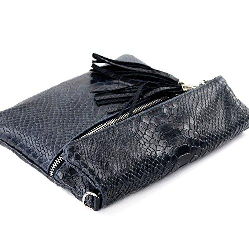 ital. Ledertasche Clutch Umhängetasche Unterarmtasche Glattleder Schlangenoptik T130 T130A Dunkelblau