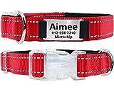 TagME Personalisiertes Hundehalsband mit Namensschild aus Edelstahl,Benutzerdefinierte Gravierte Hundemarke,Reflektierende und Weich Gepolsterte Hundehalsbänder,Rot