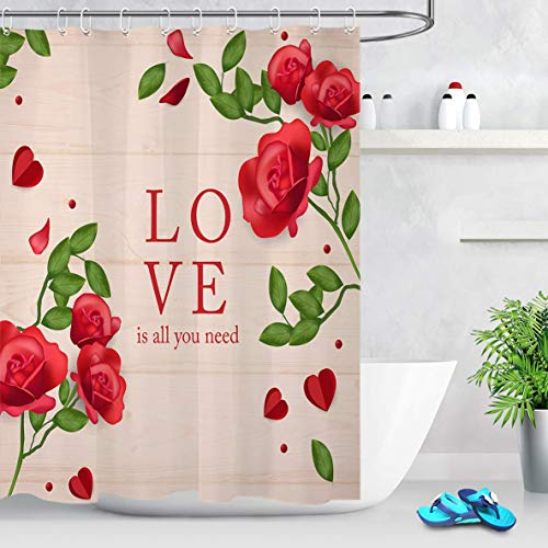 prz0vprz0v Surreal Shower Curtain, 3D Printing Red Heart Shower Curtain Net Structure Heart on Rustic Wood Panel Art Print Unique Valentine Day Shower Curtain 71 x 79 Inch Waterproof Fabric -