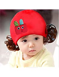 Enfants Bouchon Bonnet en tricot chaud bandeau bandeau perruque Chapeau Princesse Fille Style D