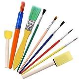 9 PCS cepillos de Pintura para niños Set de Bricolaje Pintura Herramientas Cepillo de Mango de Madera del Sello de Esponja y Cepillo de Esponja
