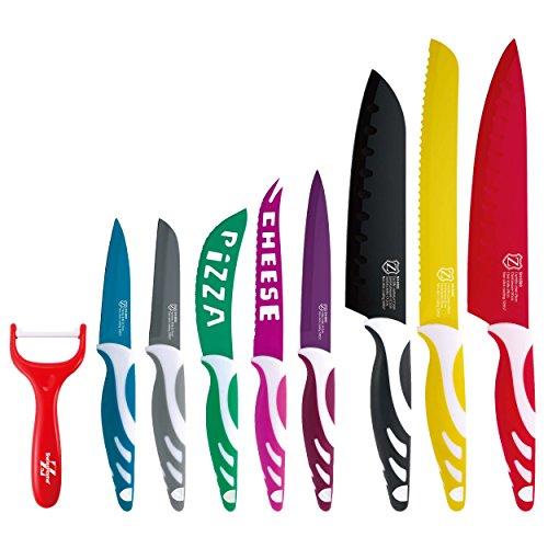 Swiss Home Set de 8 Cuchillas y Pelador, Acero Inoxidable, Multicolor, 38 x 20 x 3.5 cm, 9 Unidades