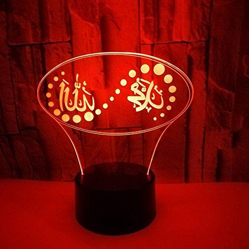 Optische Täuschung 3D Islam Nacht Licht 7 Farben Andern Sich USB Adapter Touch Schalter Dekor Lampe LED Lampe Tisch Kinder Brithday weihnachten Geschenk