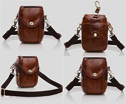 Everdoss Unisex echt Leder Bauchtasche klein Schultertasche Messenger Bag Gürteltasche Freizeittasche für Handy und Geldbörse dunkel kaffee