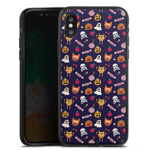 Apple iPhone 5 Silikon Hülle Case Schutzhülle Geist Kürbis Halloween Muster Silikon Case schwarz