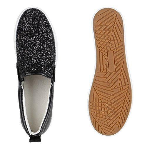 Damen Glitzer Slip-ons Plateau Metallic Slipper Mode Schuhe | Gr. 36-41 | Aktuelle Kollektion Schwarz Glitzer Plateau