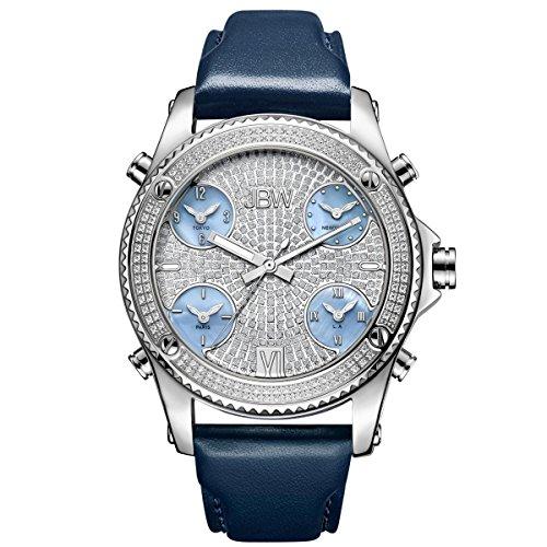 Jbw orologio da uomo Genuine Diamond–jet Setter argento/navy