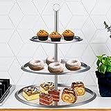 Top Home Solutions Edelstahl 3Etagen rund Kuchen Ständer zu Display Kuchen/Cupcakes/Kekse/Muffins–Party Hochzeit