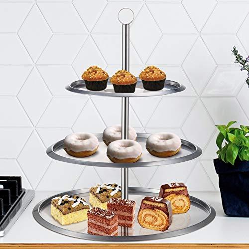 Soporte para tartas, magdalenas, galletas y muffins de 3 pisos, de acero inoxidable, ideal para bodas, de Top Home Solutions