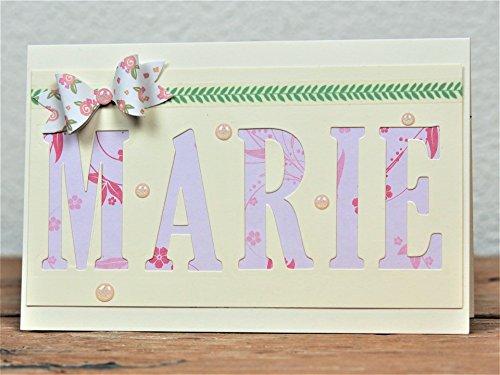 Taufkarte Schleife, Geburtstagskarte, mit Namen, handgefertigt / handmade