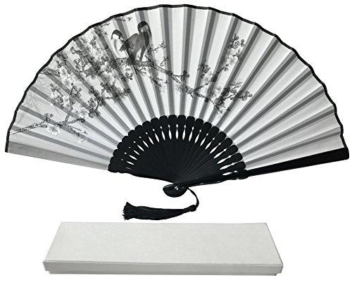 Hot-box-fan (Tinte Art Handheld Fan mit Einem Box und Eine Tasche für Damen Herren Mädchen Schwarz und Weiß mit Silber Touch bis Durable Falten Hand Fan Seide Stoff Two Birds Ia07)