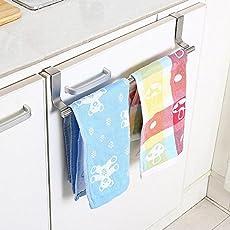 Zollyss Stainless Steel Towel Bar Holder Kitchen Cabinet Cupboard Door Hanging Rack Storage Hook Accessories