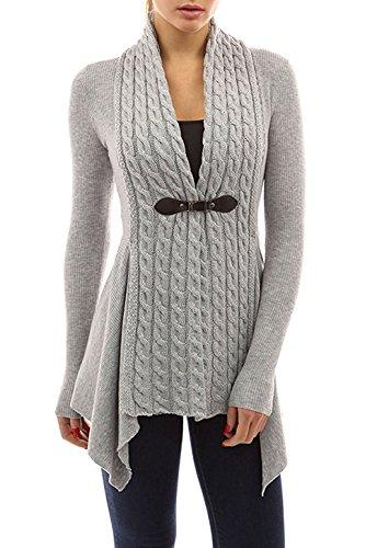 Minetom donne casuale autunno inverno manica lunga cardigan lavorato a maglia eleganti moda mantelle scialle giacca cappotto irregolare grigio it 44
