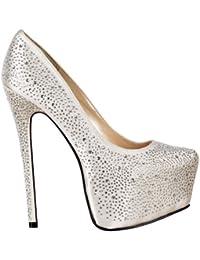Onlineshoe Señoras Mujeres Diamante Crystal tacón del estilete ocultos zapatos de plataforma - Blanco satén marfil