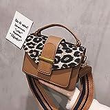 XIBAOBAO Frauen Shoulder Bag Fashion Vintage Leopardenmuster Crossbody Tasche Handtasche Damen Freizeit Breite Schultergurt Messenger Square Bag Braun