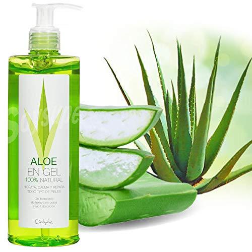 Aloe Vera Gel im großen 390 ml Spender, 100% natürlich, mit Kamilleextrakt, dermatologisch getestet, Feuchtigkeitspflege für Haut und Haar - Für Sonnenbrand, Hautreizungen, Insektenstiche - After Sun