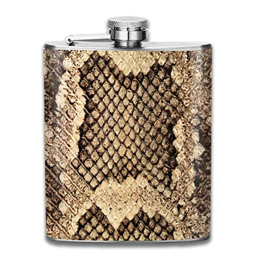 Brown Snake Skin Seamless Pocket Leak Proof Liquor Hip Flask Alcohol Flagon 304 Stainless Steel 7OZ Gift Box Outdoor Brown Snake