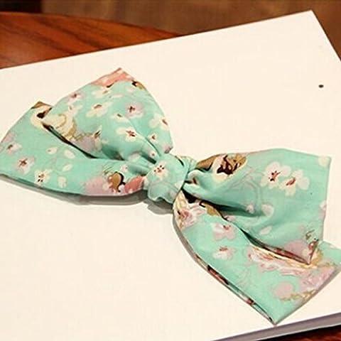 spritech (TM) Motif floral Big bowknot épingle à cheveux fleur cheveux accessoires de coq pour femme, vert, Taille unique