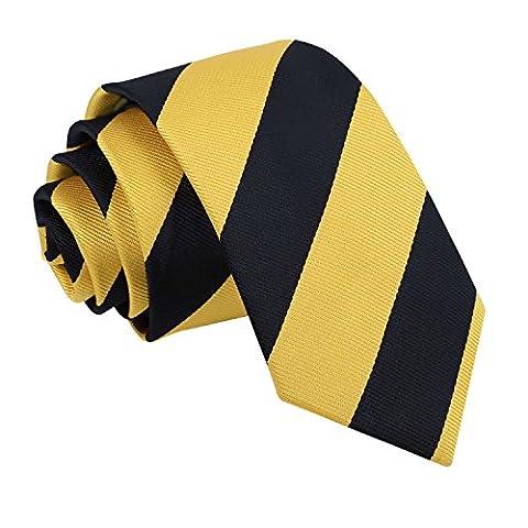 DQT Premium Woven Microfibre Striped Yellow and Black Men's Fashion