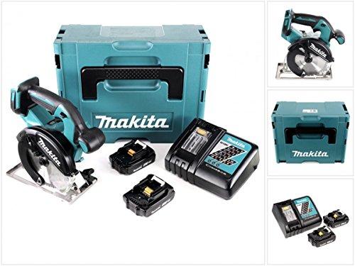 Preisvergleich Produktbild Makita DCS 551 RYJ Akku Metall Handkreissäge 18V Brushless 150 x 20 mm im Makpac mit Schutzbrille und 2x BL1820 2,0 Ah Akku und Ladegerät