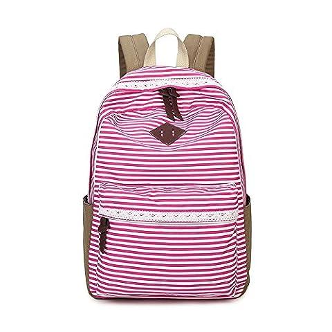 JSbetter , Sac à main porté au dos pour femme Pink Stripe