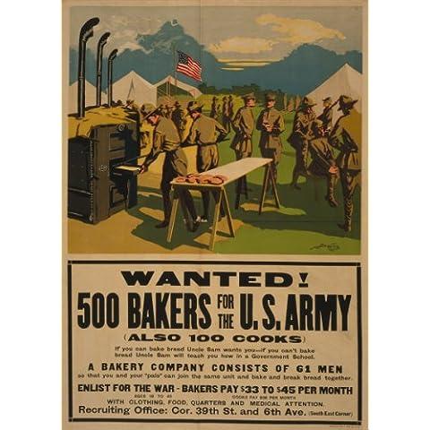 Estados Unidos de la vendimia de la Propaganda quería WW1 1914-1918! 500 BAKERS para en EE.UU ejército, también 100 cocineros 250gsm brillante cuadro decorativo A3 de