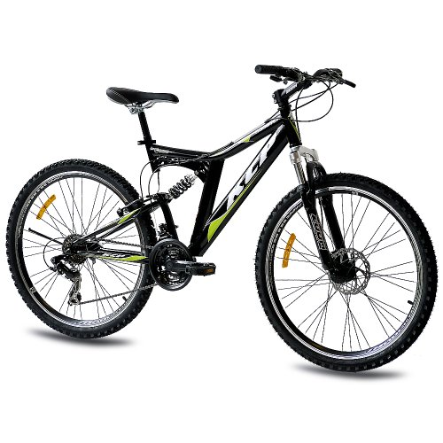 "26"" MOUNTAIN KCP BIKE ROOSTER with 21 speed Shimano DUAL SUSPENSION UNISEX black - (26 inch)"
