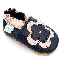 Dotty Fish Weiche Baby und Kleinkind Lederschuhe. Mädchen. Marineblau und rosa Blume. 12-18 Monate (21 EU)