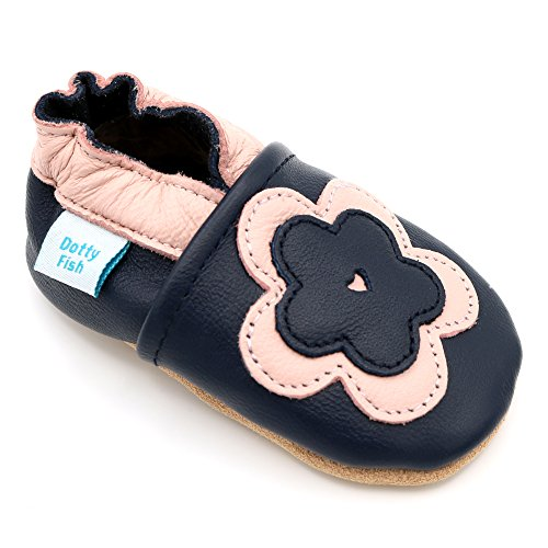 Dotty Fish Weiche Baby und Kleinkind Lederschuhe von Mädchen Marineblau und Rosa Blume - 6-12 Monate (Blumen Weiche Leder-schuhe)