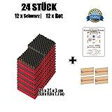 Super Dash (24 Stucke) von 25 X 25 X 3 cm Rot & Schwarz Kombination Egg Crate Noppenschaumstoff Studio Akustikschaumstoff Akustik Dammmatte Schallisolierung Schaumstoff Polster Fliesen SD1042 (ROT & SCHWARZ)