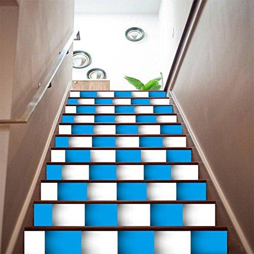 ufkleber DIY Blau und weiß Mosaik Kreativ Kombination Tapete Zuhause Nursery Dekorationen Sicherheit Selbstklebend PVC Wandaufkleber Wandgemälde , 2 Set 12 pcs , 100*18cm (Hd Halloween Tapete)