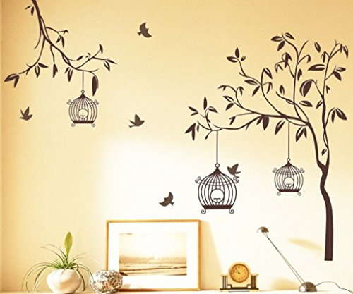 Decals Design 'Tree with Birds and Cages' Wall Sticker (PVC Vinyl, 60...