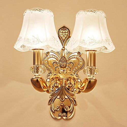 SKC Lighting-Applique murale Lampe murale en cristal européen Étude Chambre Salon de chevet Salle de télévision Fond Mur Corridor Hôtel Applique (taille : Double head)