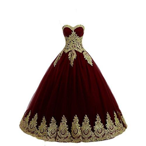NUOJIA A Linie Prinzessin Quinceanera Kleid mit Gold Appliques Ballkleider Lang Festkleider Burgund 36 (Burgund Kleid Quinceanera)