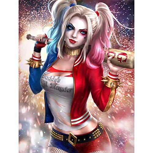 Dtdsht (11.8x15.8inch) Diamant-Stickerei-volle runde Diamant-Malerei Harley Quinn-Selbstmordkommando-Superheld-Diamant-Mosaik-Kreuzstich