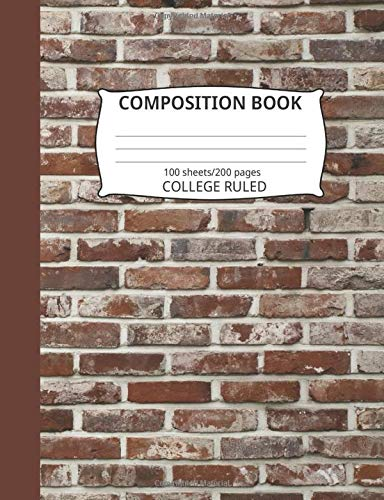 Composition Book: Brick Wall Pattern 3: Blank College Ruled Notebook - Blue Hat Wall Rack