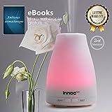 Diffuseur d'huiles essentielles, 3ème Version Humidificateur diffuseur de parfum avec eBooks Inclus et réglage de l'intensité de la brume Arrêt automatique et 7 couleurs de LED pour changer l'ambiance de la pièce