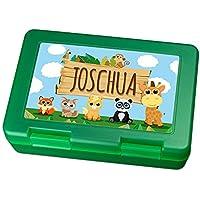 Brotdose mit Namen Joschua - Motiv Zoo, Lunchbox mit Namen, Frühstücksdose Kunststoff lebensmittelecht preisvergleich bei kinderzimmerdekopreise.eu