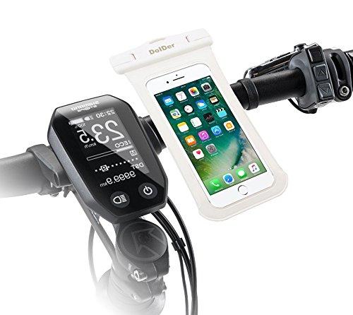 DolDer 2-in-1 Wasserdichte Tasche mit Quick Fix Fahrradhalterung Fahrrad Halter mit Side Window für 4.3~5.1 zoll Smartphone wie Abmessung der Tasche, 16.5*8.5cm, unterstürzt iPhone 7/6S/SE/5S, Samsung Galaxy S7/S6/S5/A3/J3, Sony Xperia XA/XA1/X Compact/Z5 Compact/Z3 Compact, HUAWEI P8 LITE/Honor 6/Y3II/Y5II/Y6II,Microsoft Lumia 650/Lumia 550 Moto G4 Play usw. in weiss