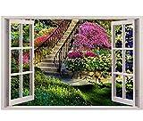 FEDZH 3D Effekt Fenster Ansicht Garten Gefälschte Wandaufkleber Entfernbare Faux Wandtattoo(60Cm X 90Cm)