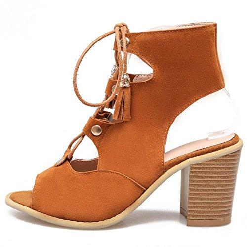COOLCEPT Damen Mode Schnurung Sandalen Cut Out Slingback Blockabsatz Schuhe Gelb