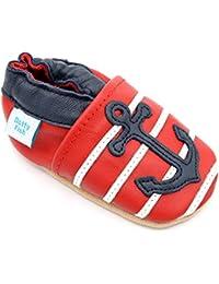 Dotty Fish Chaussures Cuir Souple bébé et Bambin. 0-6 Mois - 4-5 Ans.  Pantoufles pour garçons avec Voitures et… 520a550e88c